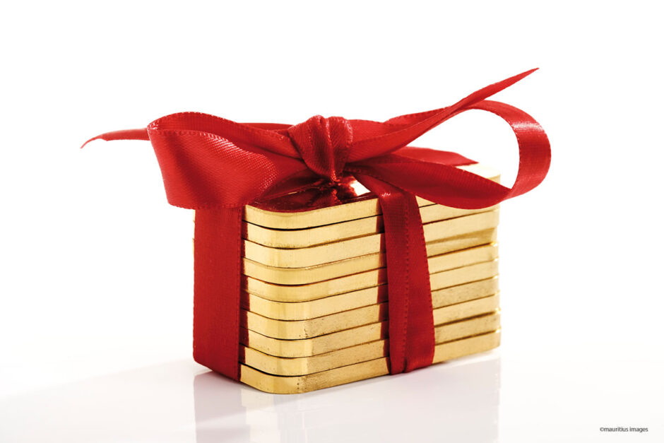 Goldbarren als Weihnachtsgeschenk